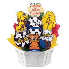 Cats and Dogs Cookie Bouquet