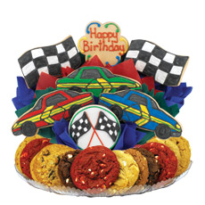 Birthday Gift Basket for Him | Race Car Cookies