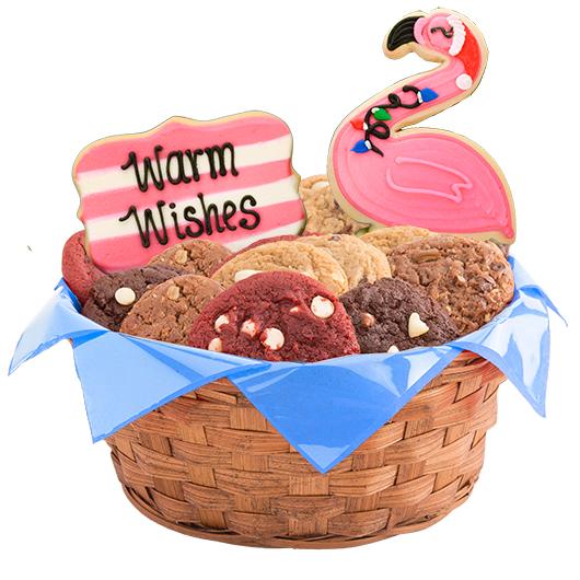 Pink Flamingo Cookie Basket