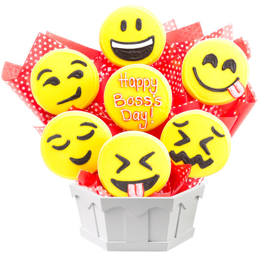 Sweet Emojis Boss Day Cookie Bouquet