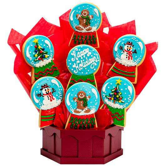 Christmas Snow Globes Cookie Bouquet