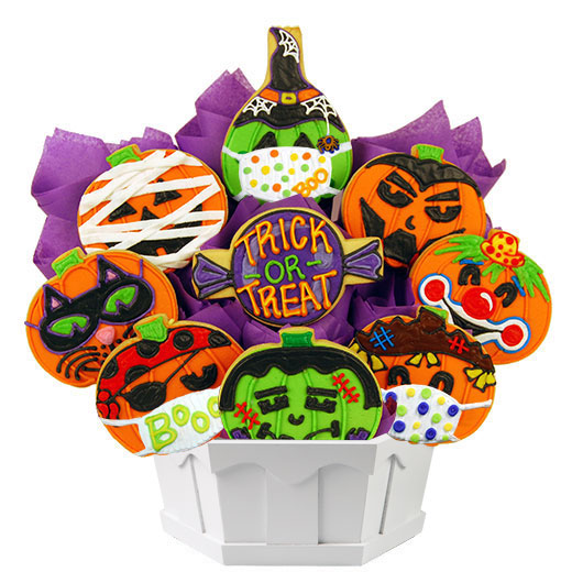 Pumpkin Bash Masks Cookie Bouquet