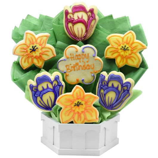 Birthday Spring Blossoms Cookie Bouquet