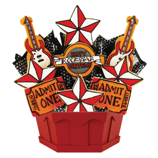 Happy Rockstar Birthday (Red) Cookie Bouquet