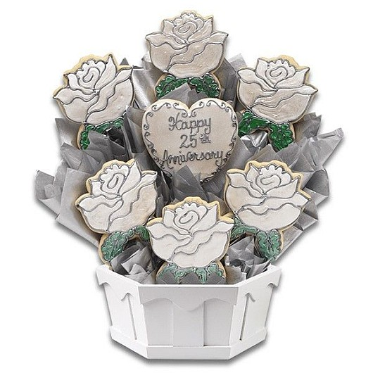 Silver Anniversary Cookie Bouquet