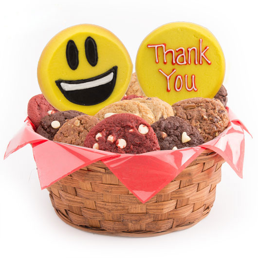 Sweet Emojis Cookie Basket-Thank You