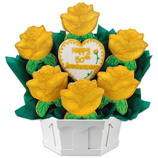 Golden Anniversary Cookie Bouquet