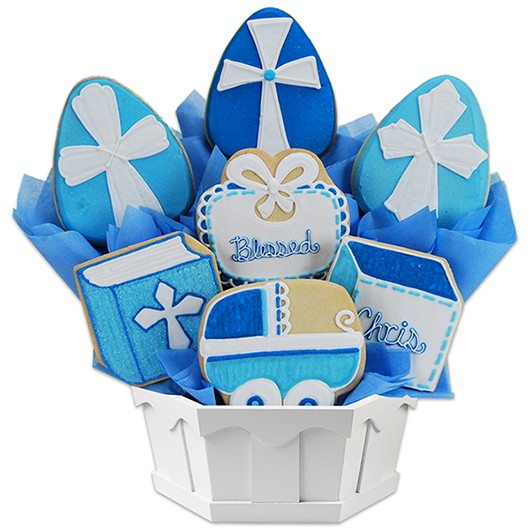 Blessed Baptism  - Boy Cookie Bouquet