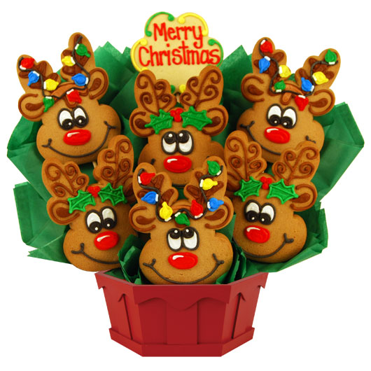 christmas reindeer roundup cookie bouquet