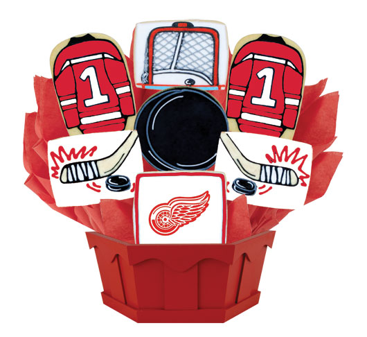 9dbf31ccf0b Hockey Bouquet - Detroit Red Cookie Bouquet