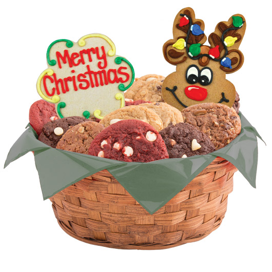 Cookie bouquet gourmet gift baskets cookies by design christmas reindeer roundup basket negle Image collections