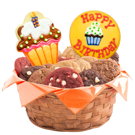 Gift basket birthday birthday cookie delivery cookies by design cute as a cupcake cookie basket negle Images