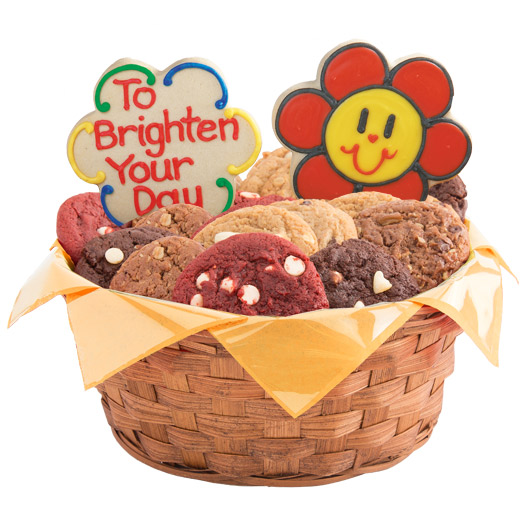 Smiley face daisies gluten free cookie basket cookies by design gluten free smiling face daisies basket negle Image collections