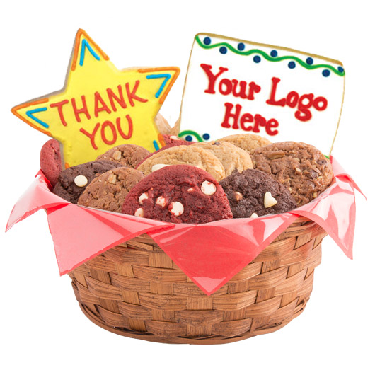 Many Thanks with Custom Logo Cookie Basket