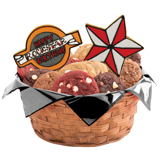 Happy Rockstar Birthday (Red) Cookie Basket