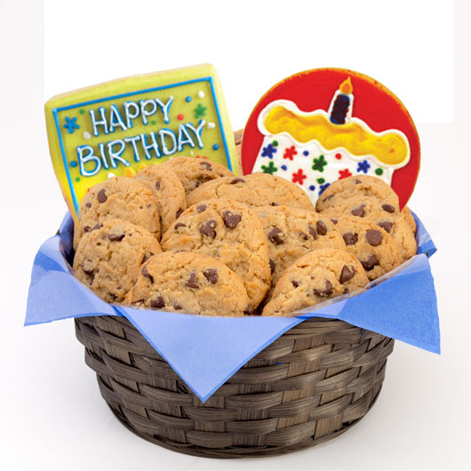 Happy birthday gluten free cookie basket cookies by design gluten free confetti and candles basket negle Choice Image
