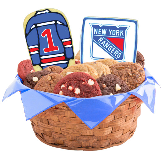 Nhl new york rangers cookie basket cookies by design hockey basket new york nyr negle