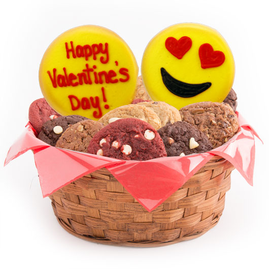 Gluten free love emoji cookies valentine basket cookies by design gluten free sweet emoji valentines day basket negle Image collections