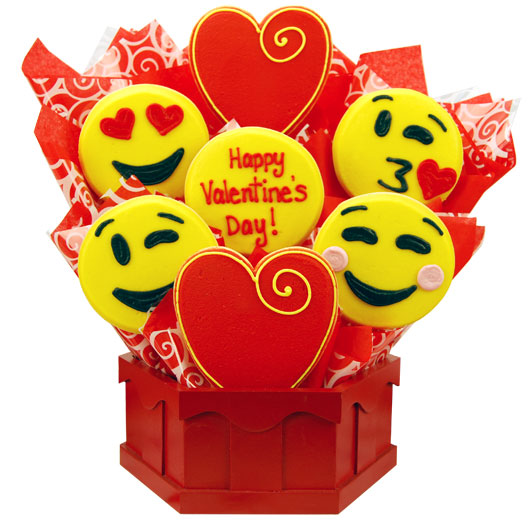 "Sweet Emoji ""Valentine's Day"" Cookie Bouquet"