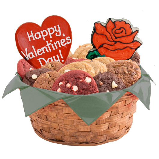 Sweetheart Roses Cookie Basket