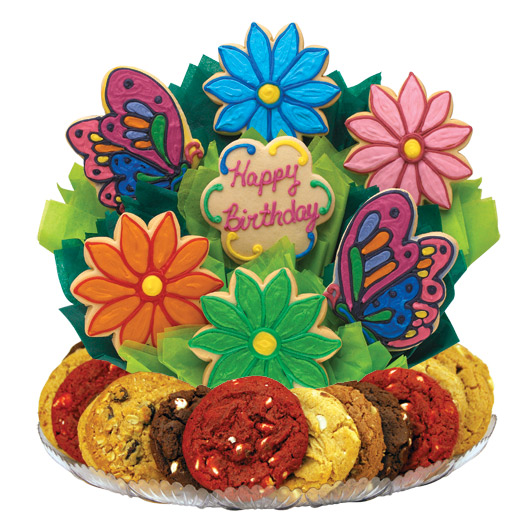 Butterfly And Daisy Birthday Gourmet Gift Basket