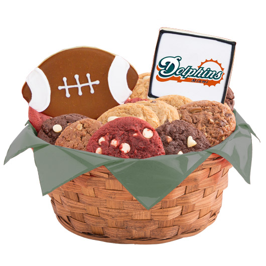 Nfl miami dolphins cookie basket cookies by design football basket miami negle Choice Image