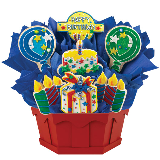 Confetti And Candles Primary Cookie Bouquet