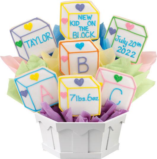 Personalized baby gifts new baby gift cookies by design baby blocks negle Choice Image