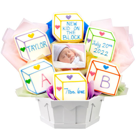 Personalized photo gift baby picture gift cookies by design photo cookies baby blocks negle Image collections
