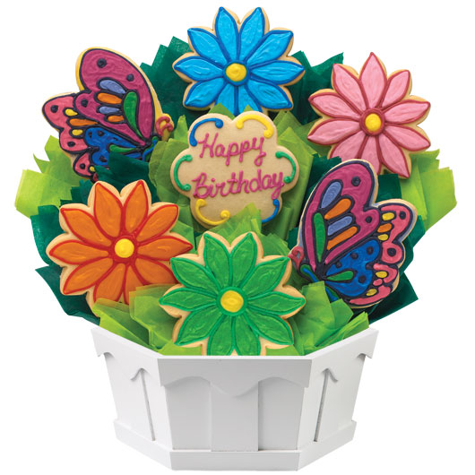Butterfly And Daisy Birthday Cookie Bouquet