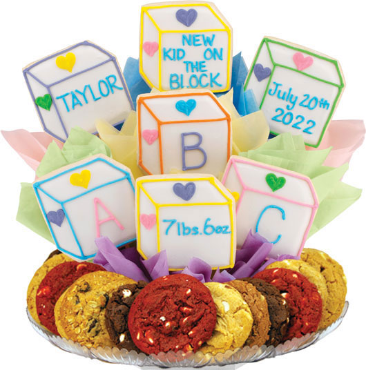Personalized baby gift newborn baby gifts cookies by design baby blocks boutray negle Image collections