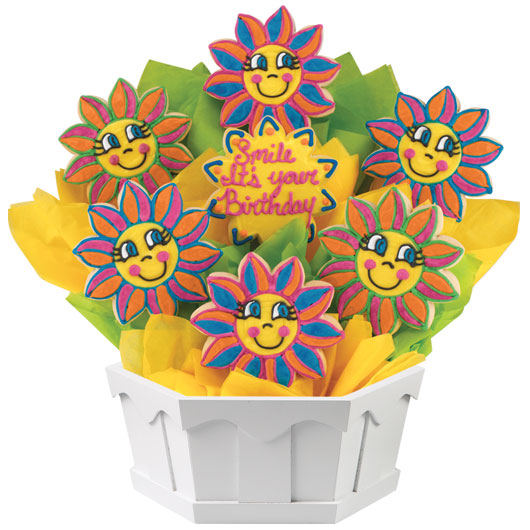 Birthday Smiles Cookie Bouquet Cookies by Design