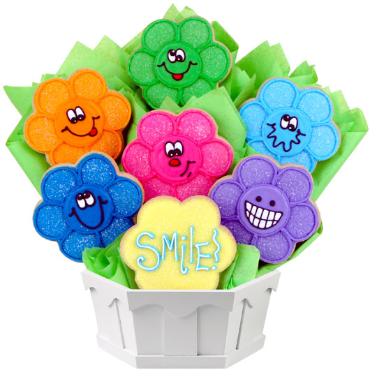 Wacky Face Daisies Cookie Bouquet