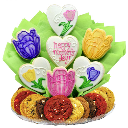 Mom's Tulip Blossoms Gourmet Gift Basket